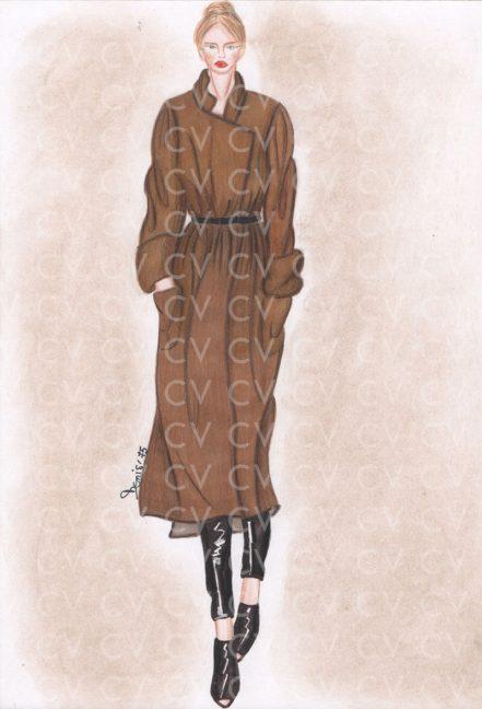 Nel figurino di moda è raffigurato un cappotto vestaglia color cammello in lana su leggings in pelle nera. Un capo dai mille usi e sempre attuale.
