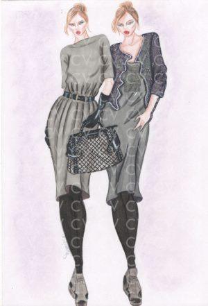 Abitoin lana con manica 3/4 e cintura in vita. Accanto, il cardigan con ricami collezione Balmain rende l'abito più elegante.