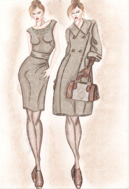 Nel figurino di moda è raffigurato un abito in lana con strasse giromanica collezione Blumarine, abbinato al cappotto doppiopetto nella stessa tonalità.