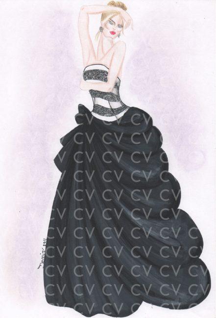 Abito da gala con ampia gonna in taffettà e corpetto a righe con paillettes. Stile che ricorda gli abiti da gran sera degli anni '50 di Dior.