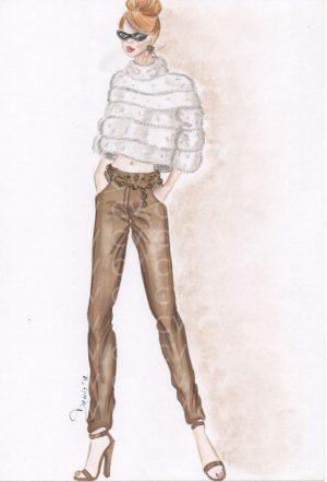 Pullover in eco pelliccia bianca su pantaloni skinny in suede color biscotto. Outfit ideale per una serata invernale glamour ma non troppo formale.