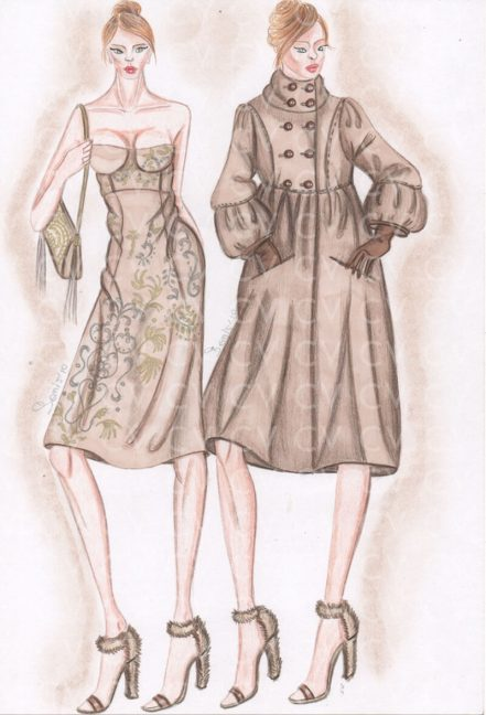 In questo figurino di moda è rappresentato un Abito con ricami floreali oro e argento in lana color cammello collezione Sportmax.