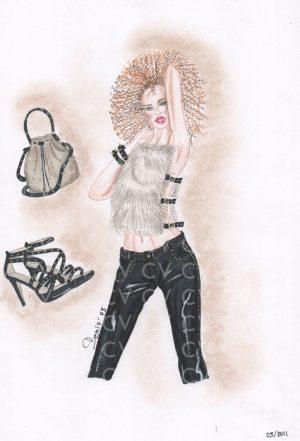 Nel figurino di moda realizzato è raffigurato un accostamento insolito tra pantaloni in pelle nera e top in eco pelliccia bianca con stringhe in pelle.