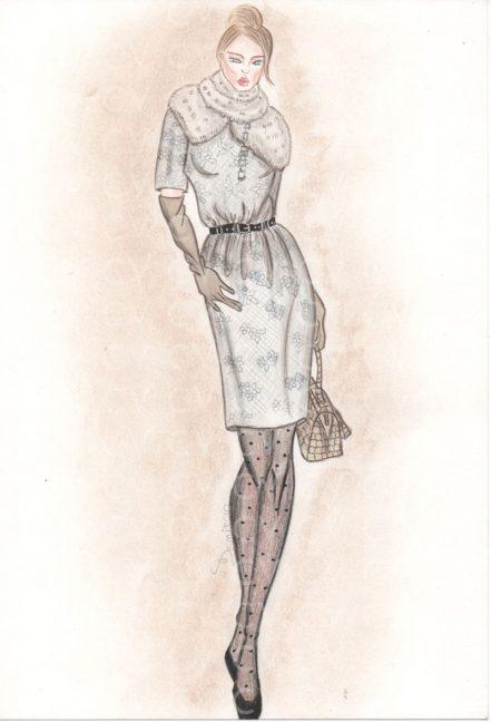 Abito in pizzo con collo in pelliccia e cintura in vita collezione Loewe, indossato su calze point d'esprit e bauletto stampa cocco collezione Louis Vuitton