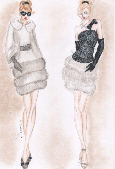 Nel figurino di moda è raffigurato un abito da sera bimateriale con corpetto in paillettes e voluminosa gonna in eco pelliccia.