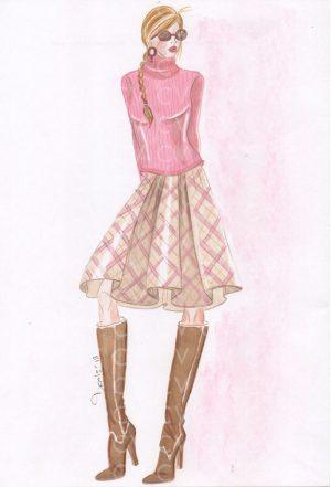 Nel figurino di moda è raffigurata una gonna a ruota lunghezza midi. La gonna è realizzabile in tartan con o senza fodera.