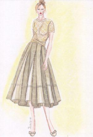 Nel figurino di moda è raffigurata una gonna in pelle modello a ruota e lunghezza midi in perfetto stile Grace Kelly, reso però contemporaneo dalla pelle.