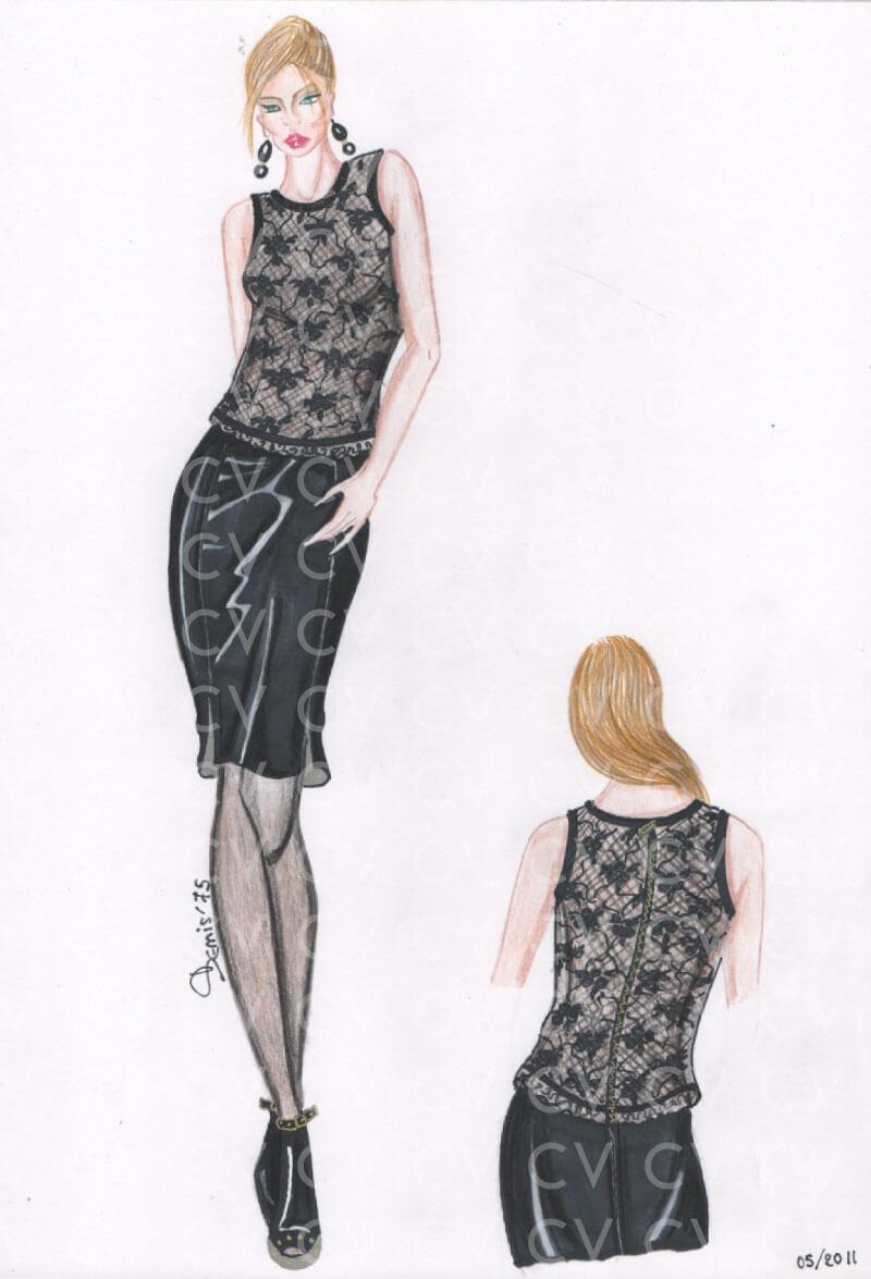 Top in pizzo nero ispirato allo stile Dolce&Gabbana con chiusura posteriore con cerniera. La canotta è abbinata ad una gonna a tubino in morbida pelle nera.