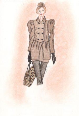 Completo cammello in lana con dettagli in laminato, costituito da cappotto corto doppiopetto e mini gonna coordinata, ispirato alla collezione Mulberry.