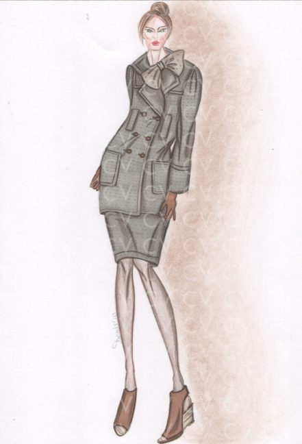 Nel figurino di moda è raffigurato un completo grigio in lana tortora con bordi in pelliccia. La blusa ha un fiocco e delle maniche di lunghezza a 3/4.