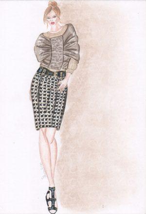 Figurino di moda di un piumino couture con inserto in astrakan ispirato a un modello Monclear su gonna pie-de-coq collezione Chanel.