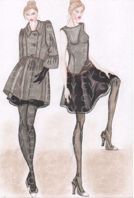 Nel figurino di moda realizzato è raffigurato un abito bimateriale giromanica con gonna doppiata in organza ispirata alla collezione Giambattista Valli.