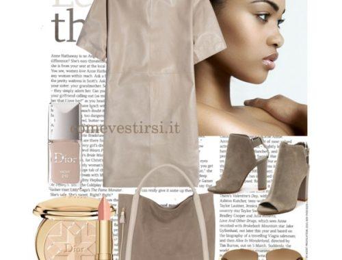 color nude abito in pelle